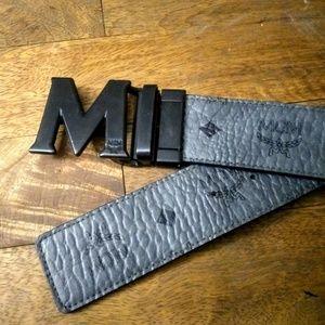 MCM grey and black reversible belt